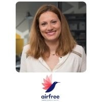 Agnes Debains from airfree speaking at World Aviation Festival