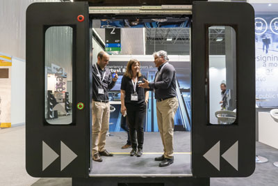 Exhibitor with train door at Rail Live 2020 in Madrid, Spain