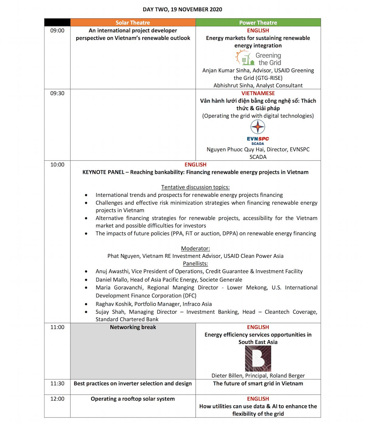 Future Energy Show VN Agenda Day 1